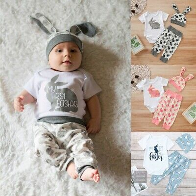 Newborn Baby Girl Boy Easter Bunny Outfits Romper Outfits Hat Pants Set Jumpsuit