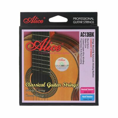 6pcs Alice AC136BK Hard Black Nylon Strings Classical Guitar Strings 1st-6th Set