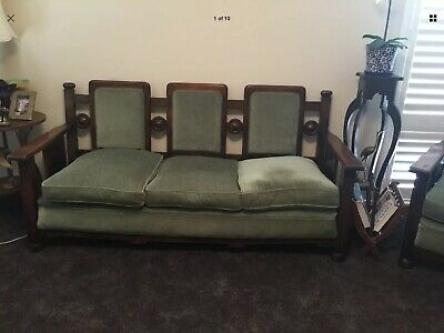 Antique Arts and Crafts Oak lounge suite, 3 seater plus 2 armchairs.