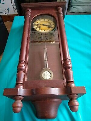 HAND MADE OLD WOODEN WIND-UP WALL Clock. No key so untested.