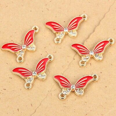 Red Alloy Enamel Crystal Butterfly Animal Connector Charm DIY Necklace Jewelry