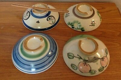 (4) Vintage Traditional Japanese Rice Bowl Pottery Stoneware Lids~Awesome~Evc