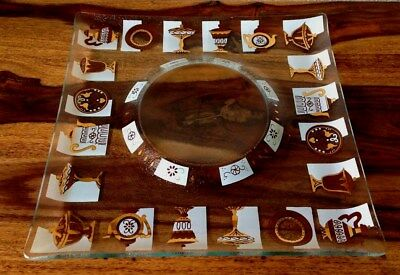 Vintage Inland Glass Mid-century Square Divided Platter Serving Tray Dessert