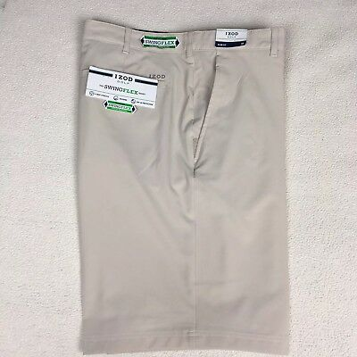 85842ce9ee7a Izod Golf Shorts Mens Size 40 Beige Slim Fit Flat Front Swing Flex Stretch
