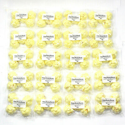 100 x Fizzy Buzzy Burst-Lemon, lime & calendula scent Bath Bombs Mini Flower 10g