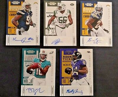 2012 Panini Contenders Football Cards (5) card lot- All Autographed!