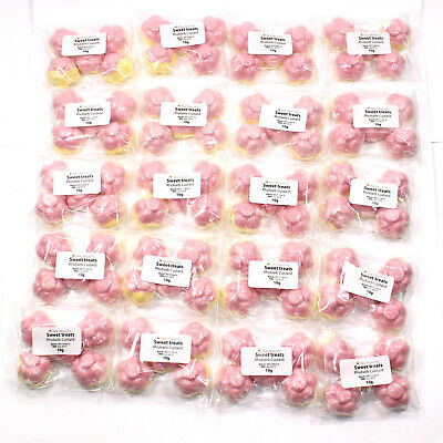 100 x Sweet Treats - Rhubarb & custard scented Bath Bombs Mini Flower 10g