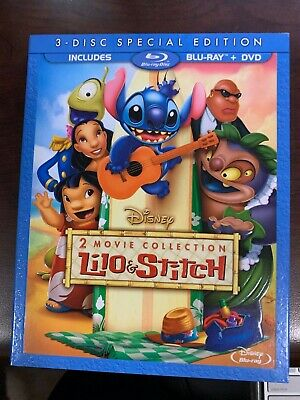 Lilo and Stitch: 2-Movie Collection Blu-Ray DVD 3 Disc Set With Slipcover SEALED