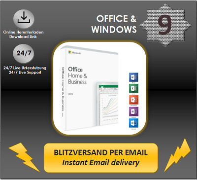 MS Office 2019, 2016, 2013, 2010 (H&B/H&S/Pro Plus) 1-5 PC Produkt per E-Mail