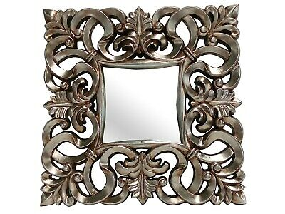 Antique Silver French Shabby Chic Style Carved Detail Wall Mirror Square Ornate