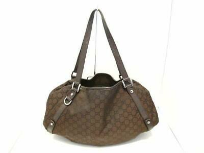 627d90f94b8 AUTH GUCCI GG 293578 DarkBrown Jacquard Leather Tote Bag -  321.00 ...