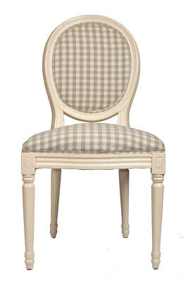 French Louis Side Chair Beige Tartan Antique Style Bedroom Dining Check Cream