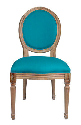 French Louis Side Chair Blue Antique Style Bedroom Dining Hall Check Washed Oak