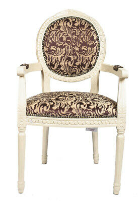French Louis Armchair Cream Burgundy Red Damask Shabby Chic Antique Style Chair