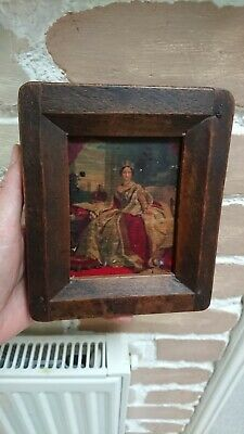 Miniature small Picture of Queen Victoria  portraits on Wooden Panel framed