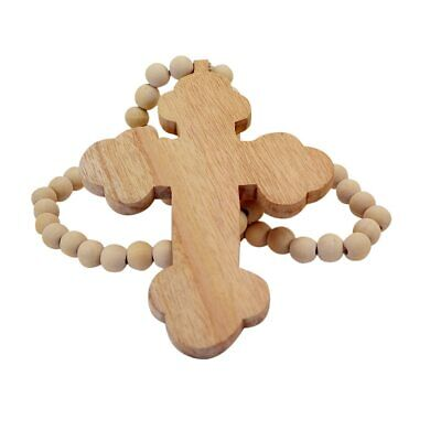 Boho Beaded cross natural colour necklace wall hanging