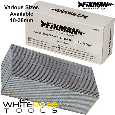 Fixman 18 Gauge Brad Nails Galvanised Smooth Shank 10-38mm Fixings 5000pc