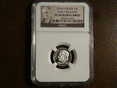 2014 S Silver Proof  Roosevelt Dime Graded PF 70 Ultra Cameo by NGC.