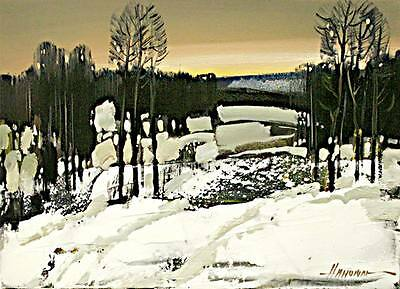 ACEO Winter, Landscape  LE Print of Original Painting by S.Hahonin