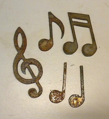 """Lot of 5 Musical Notes Treble Clef 2-4"""" Rusty Metal Art Craft Stencil Ornament"""
