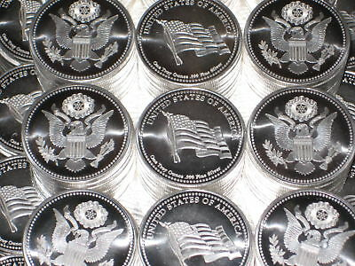 10 One Oz American Flag & Eagle Liberty Fine .999 Silver Coins Rounds Bullion