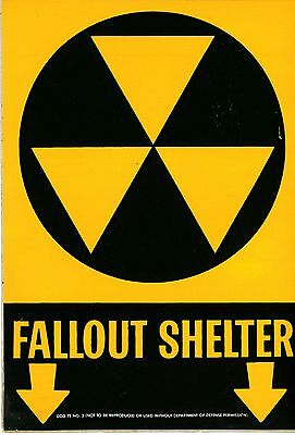 "Vintage CIVIL DEFENSE COLD WAR Sticker FALLOUT SHELTER SIGN  10""X7"" Military NEW"