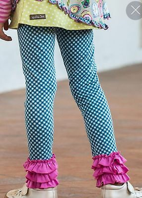 NWT Matilda Jane Make Believe Strike a Pose Girl's Blue Gingham Leggings Sz 12