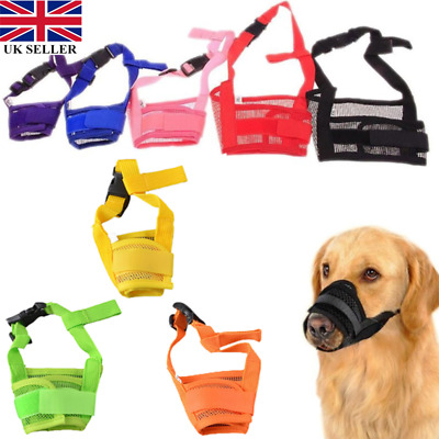 Nylon Adjustable ANTI Bite Bark DOG SAFETY MUZZLE Breathable Mesh MUZZEL UK