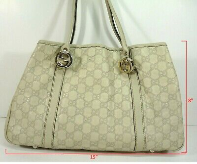 7be00555e0b1 Authentic Gucci GG 232957 Shima GG Twins White Leather Tote Shoulder Bag