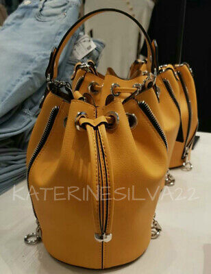 34eab7b8 ZARA NEW WOMAN Ss19 Yellow Bucket Bag With Zips Ref:3371/004