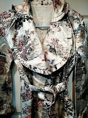 Vintage Antique 1930's 1940's Japanese Bed Gown Robe Heavy Satin Brocade Belted