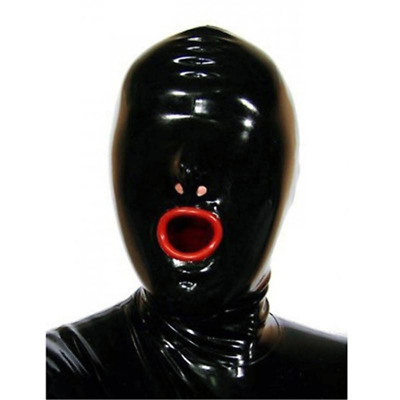 100% Latex Rubber Gummi Mask Hood Mouth Condom Party ClubWear Catsuit Costume