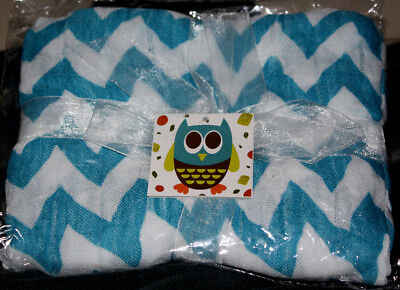 Nicki's Diapers 1 Layer Bamboo Blanket Teal Chevron - Super Soft