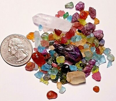 Sample 150+Carat Lot Multi Gem Rough Tiny/Small Crystals Sapphire Ruby Emerald+