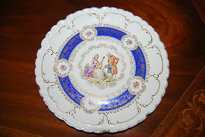 Wonderful German Romantic Love Story Blue Gold Extra Large Cabinet Or Wall Plate