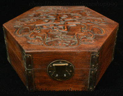 Chinese Huang Huali Wood Hand-Carved 寿 Hexagonal Storage Jewelry Case Box Statue