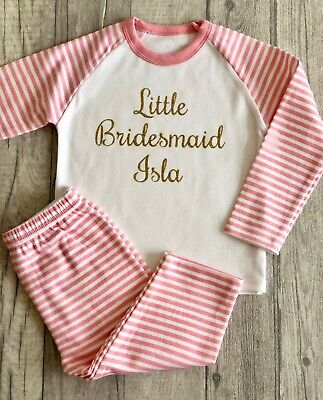 PERSONALISED LITTLE BRIDESMAID PINK White Stripe GIRLS PYJAMAS PJS Love WEDDING