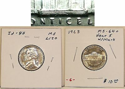 """Near-Gem Uncirculated 1963 Jefferson Nickel(s) with 5+/- """"Not Quite Full"""" Steps"""