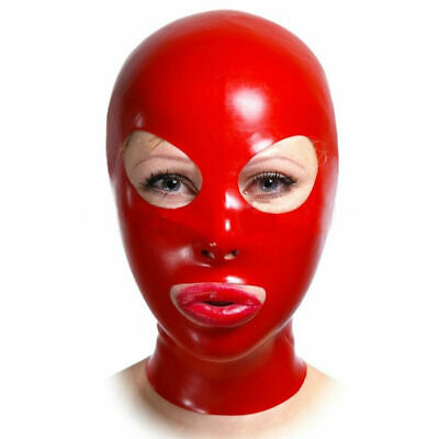 100% Sexy Red Latex Mask Rubber Open Mouth Gummi  for Catsuit Wear 0.4mm