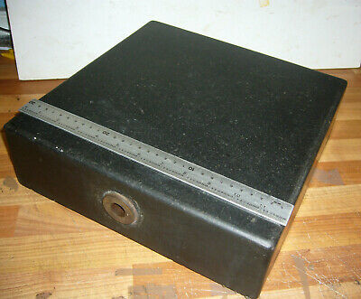 """Vintage GRANITE SURFACE PLATE / TABLE 12"""" x 12"""" x 3.5""""         (3982)"""