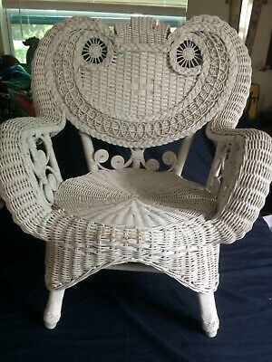 Antique Victorian Wicker Ornate Childs Chair - Great Shape  White