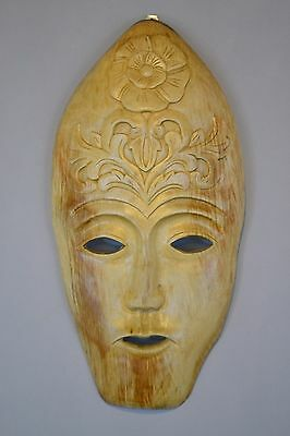 Unique Hand Carved Solid Suar Wood Native Tribe Bali Mask Wall Art Sculpture (B)