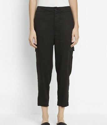 VINCE Current Black Straight Cropped Leg Stretch Linen Cargo Pants LARGE NWT