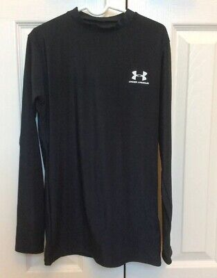 9d34ce19f2eb Boys Under Armour Heat Gear Compression Shirt Long Sleeves Black Size YLG