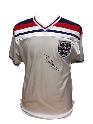 Bryan Robson Signed England Retro Football Shirt See Proof Coa Manchester United