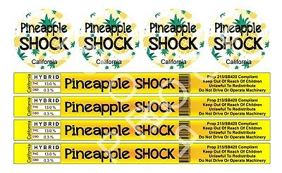 Pineapple Shock Cali Tin Labels (16 Stickers)