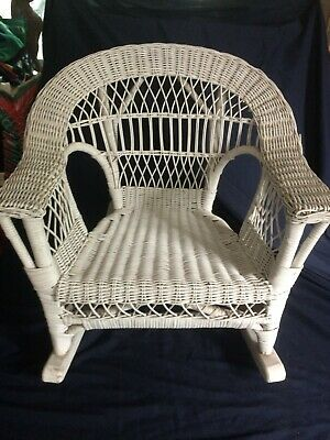 Vintage Child's White Wicker Rocking Chair - Great Shape