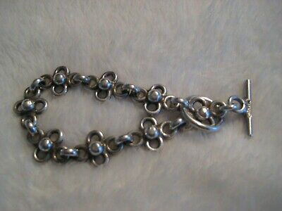 925 Sterling Silver Hefty Toggle Bracelet Signed 925 Mexico not Scrap Lot