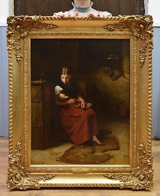 Fine Antique 19thC Oil Painting of Victorian Girl Social Realism Dickens Scene