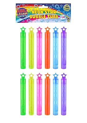 """Neon Star Bubble Tube Wand 4"""" Kids Childrens Loot Party Bag Filler Favours Toys"""